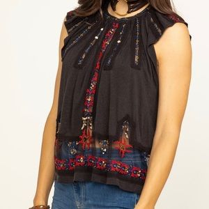 Free People Moroccan Top with sequin and tassels